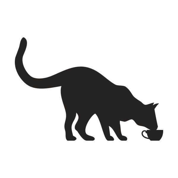 Kat drinkt uit kopje muursticker