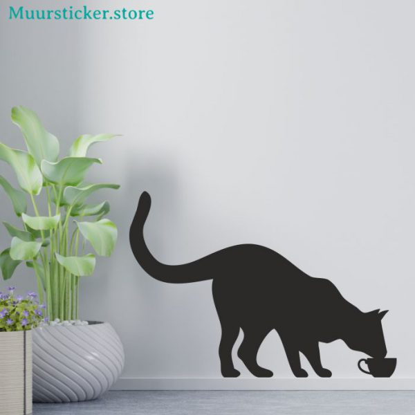 Muursticker Kat drinkt uit kopje